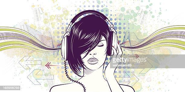 ilustraciones, imágenes clip art, dibujos animados e iconos de stock de disfruta de la música - mujer escuchando musica