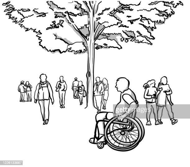 stockillustraties, clipart, cartoons en iconen met genieten van de natuur rolstoel gebonden - schaduwe