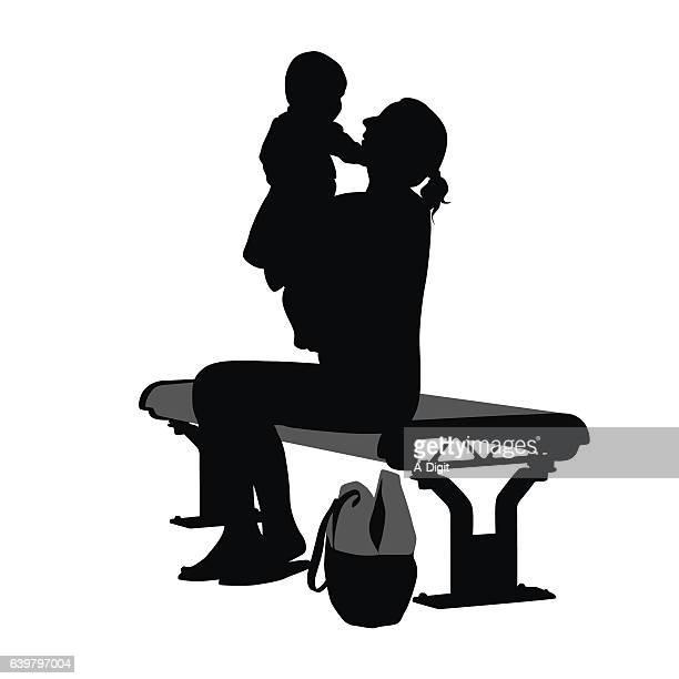 enjoying the park with her child vector silhouette - carer stock illustrations, clip art, cartoons, & icons