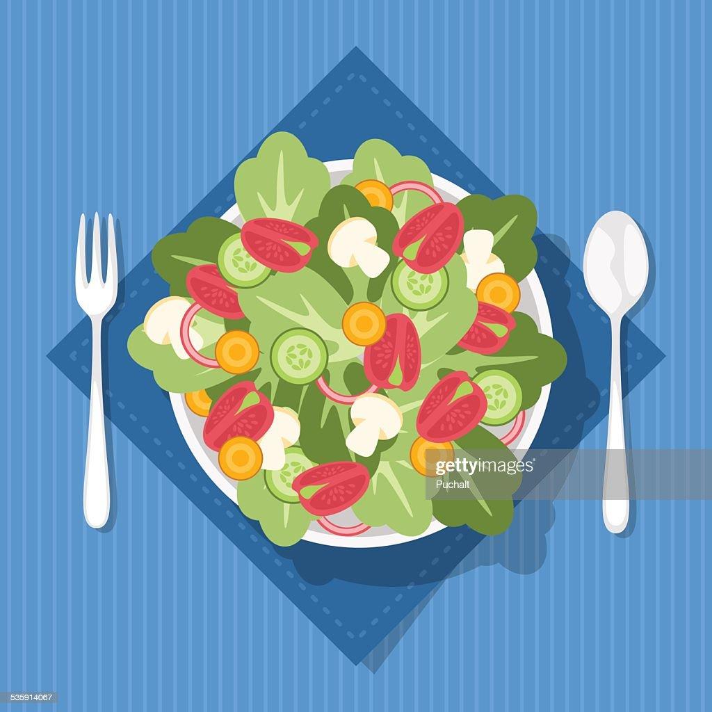Ensalada fresca listaA para comer : Arte vetorial