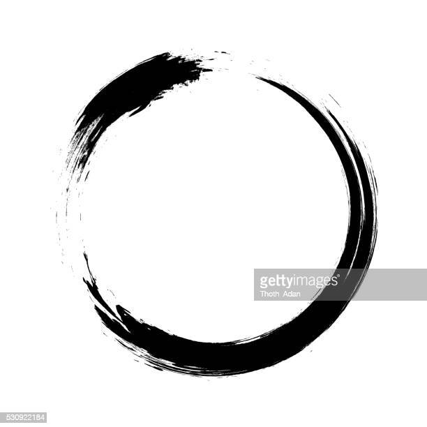 enso – circular brush stroke (japanese zen circle calligraphy n°1) - pen and ink stock illustrations