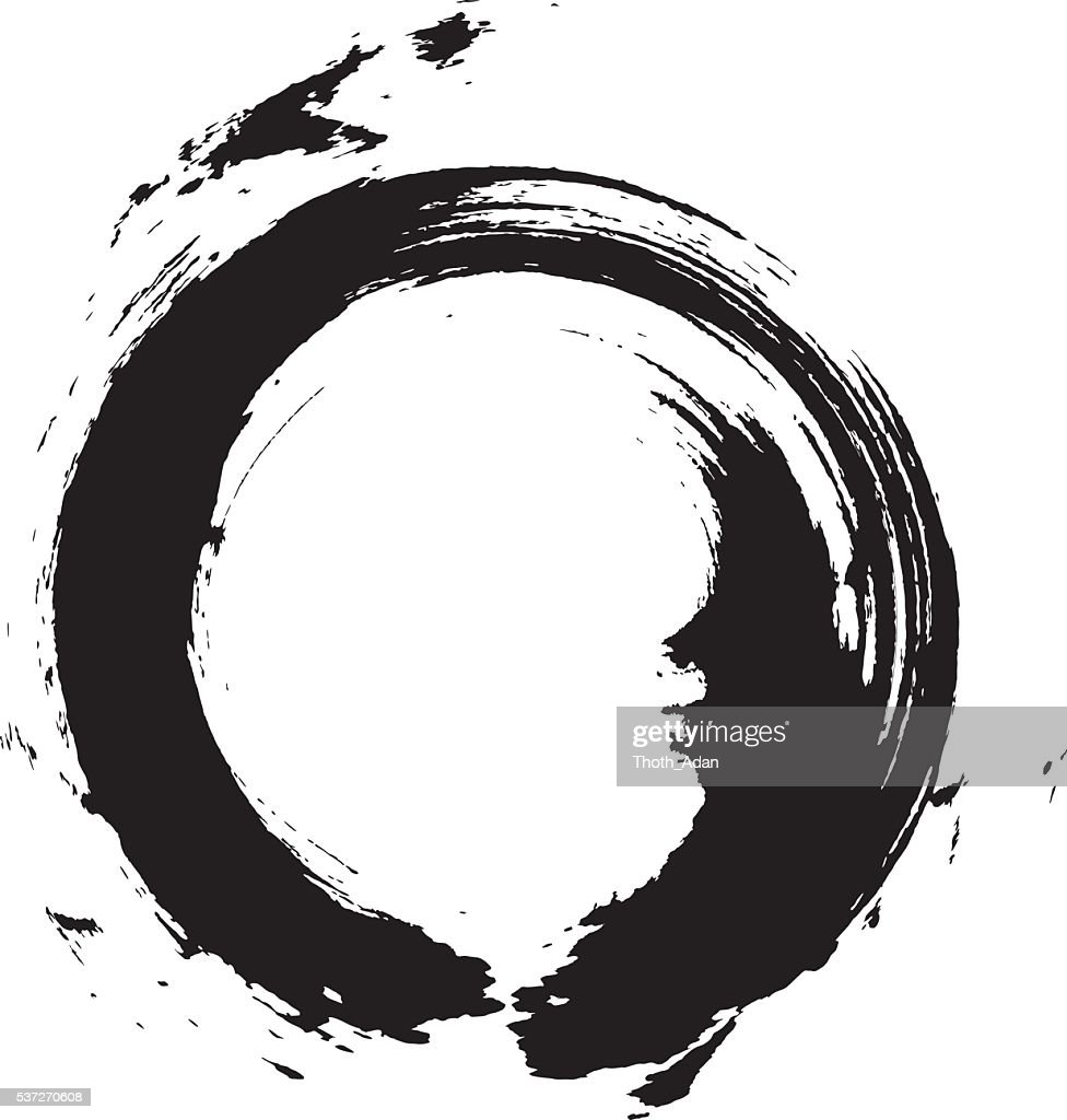 Enso circular brush stroke vector art getty images for Black circle vector