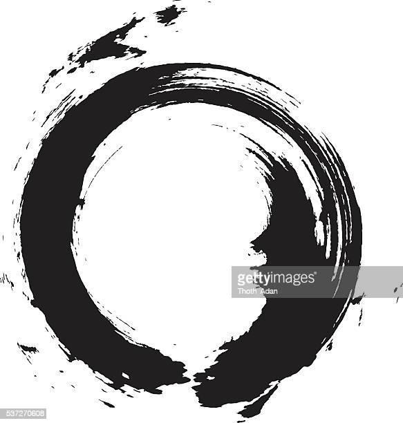 enso – circular brush stroke (japanese zen circle calligraphy n°6) - japanese language stock illustrations