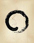 Enso grunge style – Japanese zen circle calligraphy