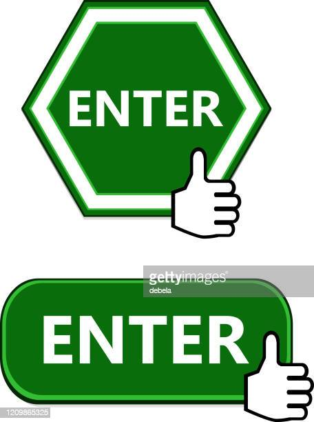 enter button collection with thumbs up sign - entering stock illustrations