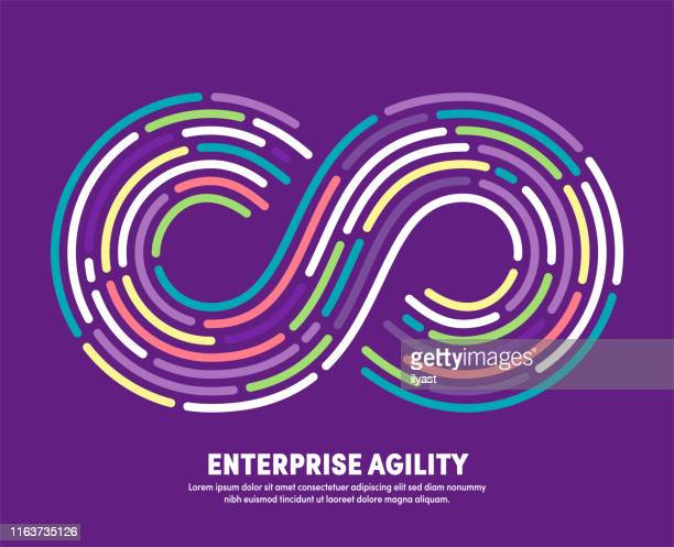 enterprise agility with infinity eternity symbol illustration - agility stock illustrations