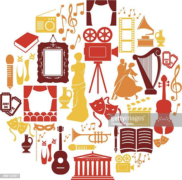 stockillustraties, clipart, cartoons en iconen met entertainment and culture icon set - culturen