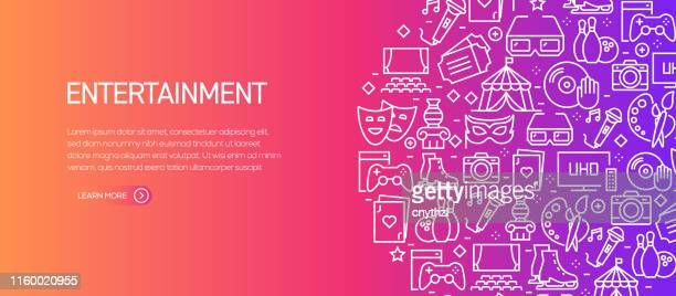 entertainment and hobbies banner template with line icons. modern vector illustration for advertisement, header, website. - arts culture and entertainment stock illustrations