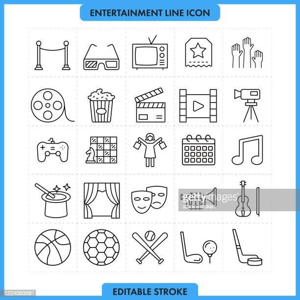 unterhaltung und medien linie icon set. bearbeitbarer strich - red carpet event stock-grafiken, -clipart, -cartoons und -symbole