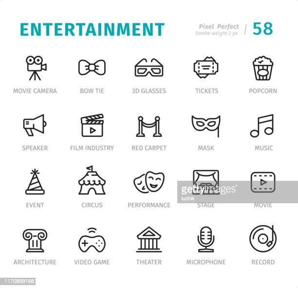 unterhaltung und medien - pixel perfect liniensymbole mit beschriftungen - kulturen stock-grafiken, -clipart, -cartoons und -symbole