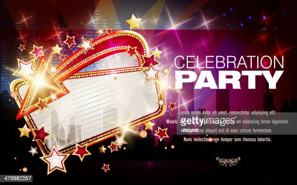 entertainment background with marquee display - tempo stock illustrations
