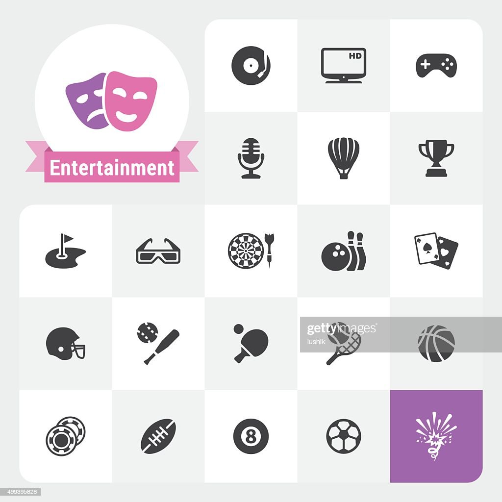 Entertainment base vector icons and label