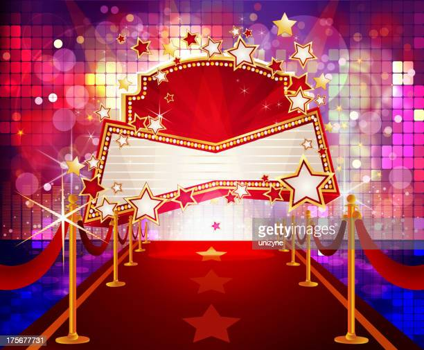 entertainment - bright disco background with marquee display - tempo stock illustrations