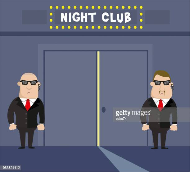 entertainment club and two security - entrance stock illustrations, clip art, cartoons, & icons