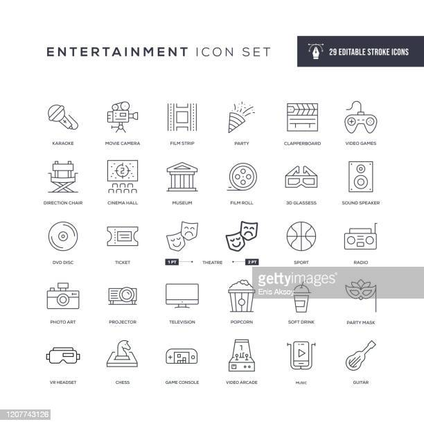illustrazioni stock, clip art, cartoni animati e icone di tendenza di entertainment editable stroke line icons - culture