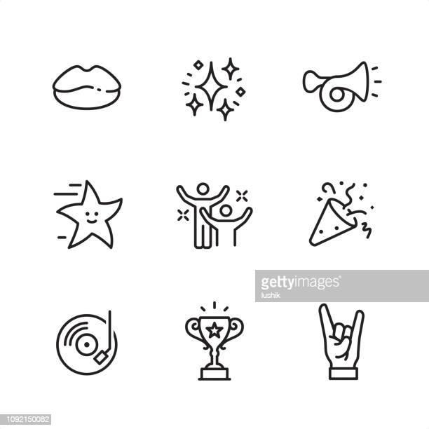 ilustraciones, imágenes clip art, dibujos animados e iconos de stock de entretenimiento eventos - iconos de contorno perfecto pixel - diversión