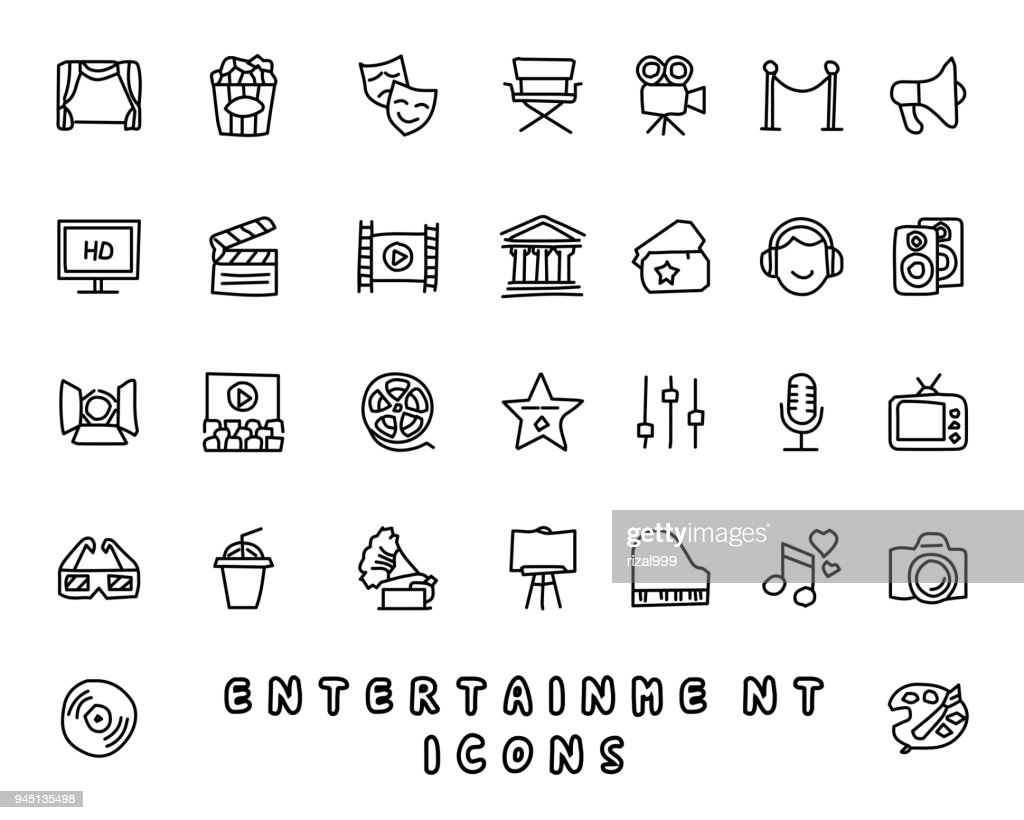 entertainment hand drawn icon design illustration, line style icon, designed for app and web