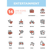 Entertainment - line design icons set