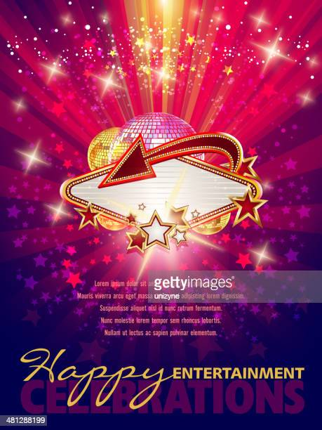 entertainment marquee background with copy space - celebrities stock illustrations, clip art, cartoons, & icons