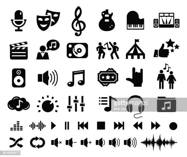 entertainment music cinema theatre circus icons - illustration - soundtrack stock illustrations, clip art, cartoons, & icons