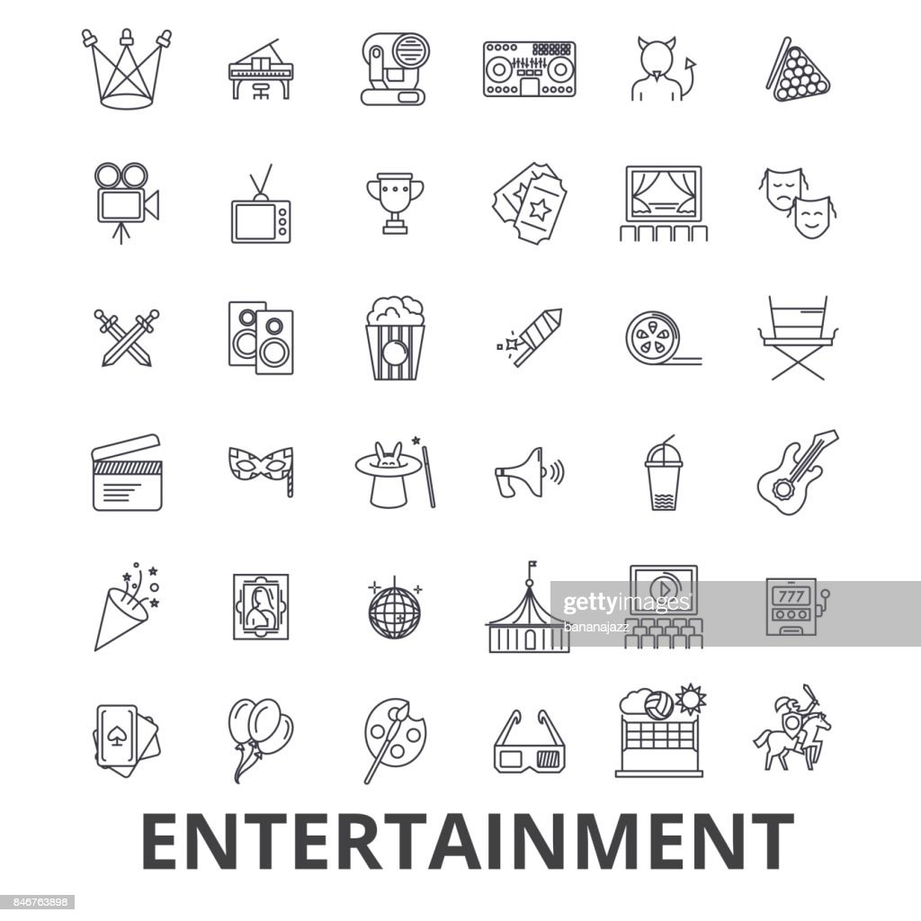 Entertainment, musician, movie, party, media, shopping, sports, fun, theatre line icons. Editable strokes. Flat design vector illustration symbol concept. Linear signs isolated