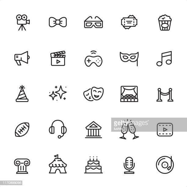 エンターテイメント - アウトラインアイコンセット - 文化点のイラスト素材/クリップアート素材/マンガ素材/アイコン素材