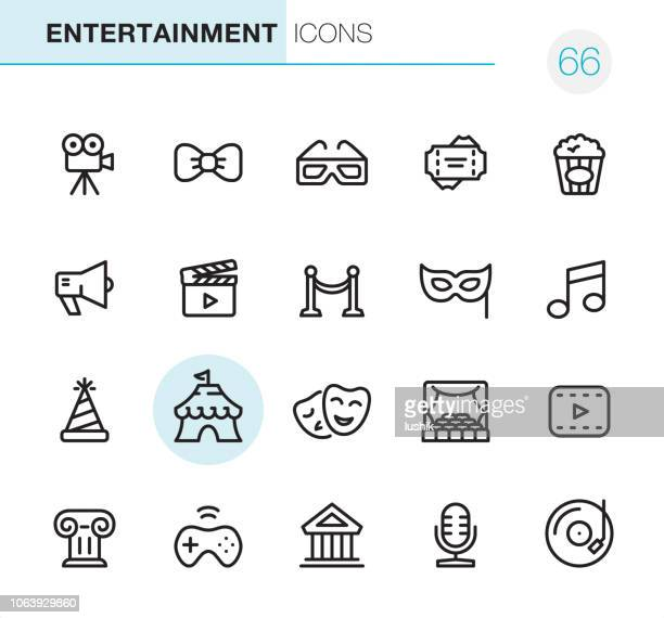 illustrazioni stock, clip art, cartoni animati e icone di tendenza di entertainment - pixel perfect icons - industria cinematografica