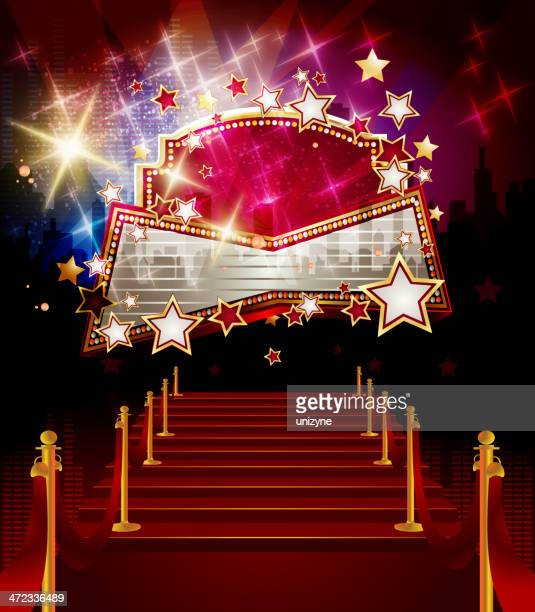 entertainment - red carpet with marquee display - tempo stock illustrations