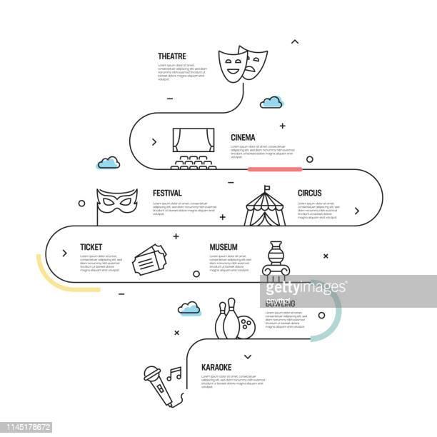 entertainment related vector concept und infographische designelemente im linearstil - film oder fernsehvorführung stock-grafiken, -clipart, -cartoons und -symbole