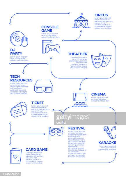 entertainment related vector concept and infographic design elements in linear style - film festival stock illustrations