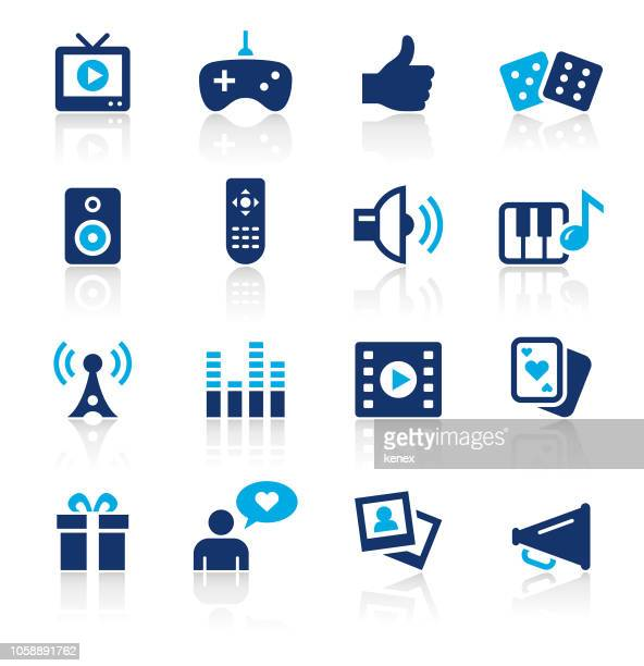 entertainment two color icons set - television industry stock illustrations