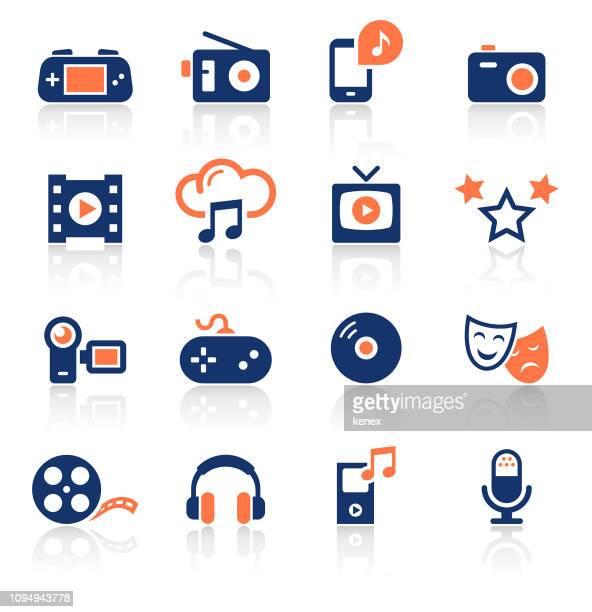 unterhaltung zwei farbige icons set - film oder fernsehvorführung stock-grafiken, -clipart, -cartoons und -symbole