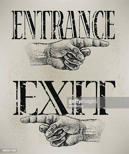 entrance and exit - entrance sign stock illustrations