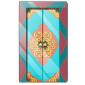 Entrance door with exquisite ornamentation. Vector illustration