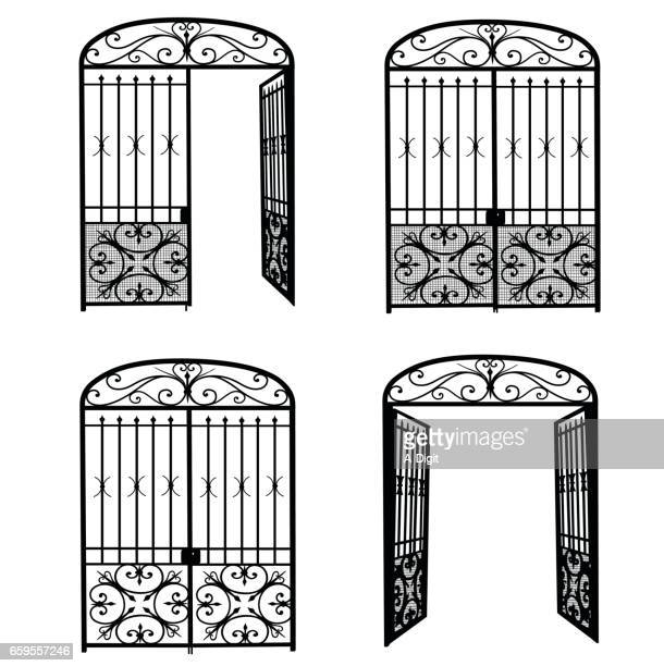 entrance metal gate - arch stock illustrations
