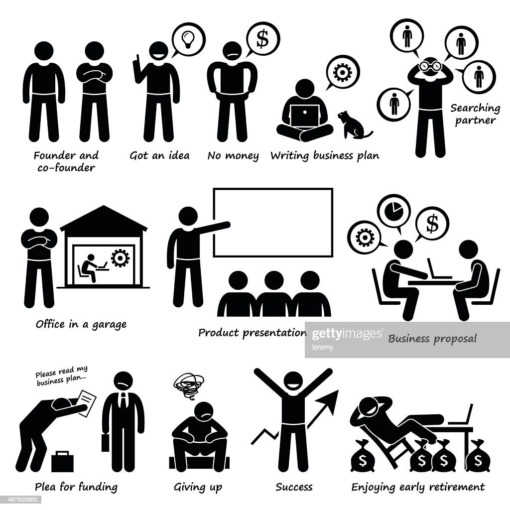 Entrepreneur Creating a Startup Business Company Pictogram