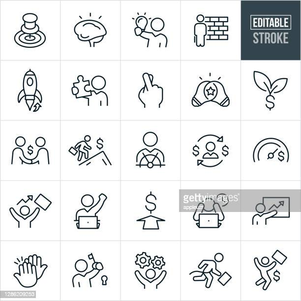 entrepreneur thin line icons - editable stroke - launch event stock illustrations