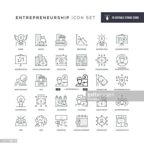 entrepreneurship editable stroke line icons - financial technology stock illustrations
