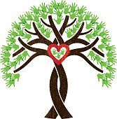 Entwined tree heart illustration