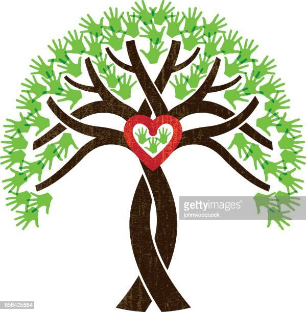 ilustraciones, imágenes clip art, dibujos animados e iconos de stock de ilustración de corazón de árbol entrelazados - family tree
