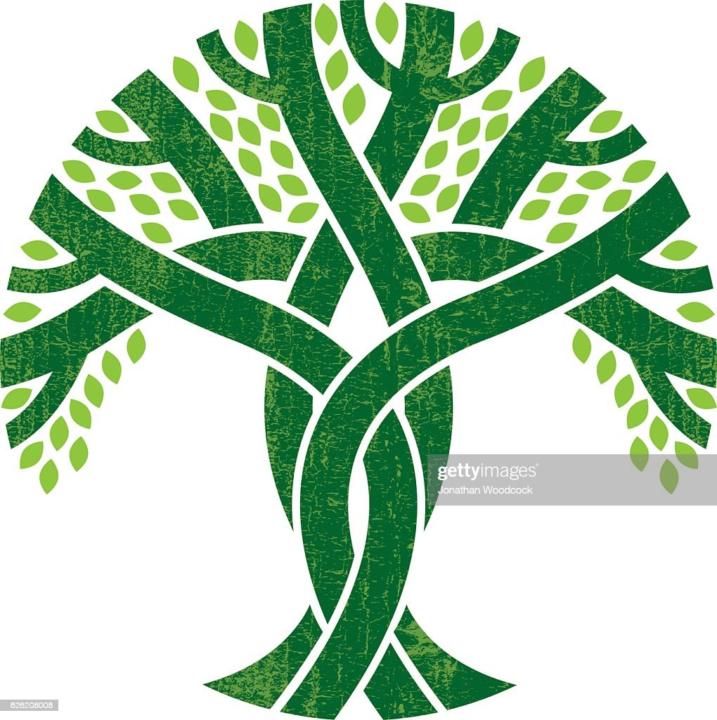 Entwined tree logo illustration : stock illustration