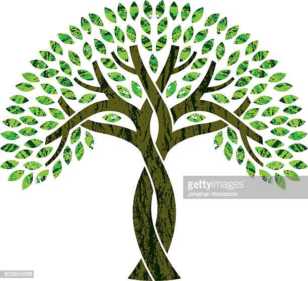 entwined tree symbol illustration - tree trunk stock illustrations, clip art, cartoons, & icons