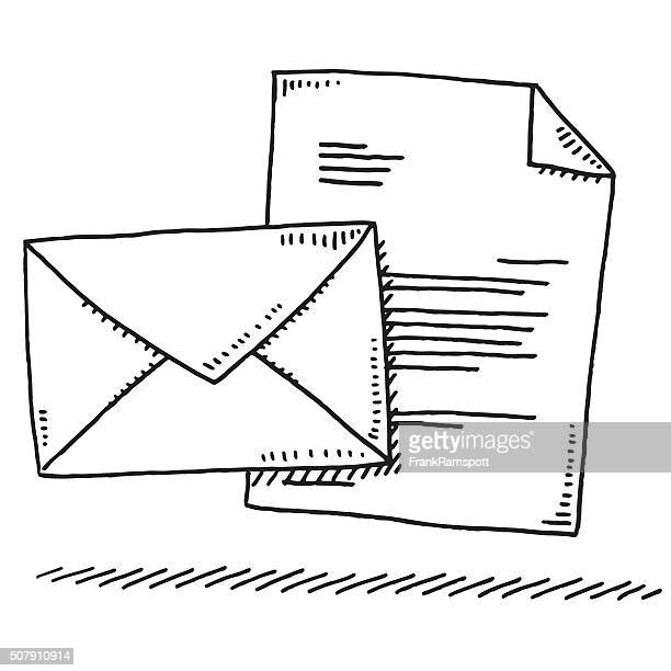 envelope and letter symbol drawing - envelope stock illustrations, clip art, cartoons, & icons