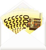 envelope and two hundred euro banknotes