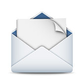 Envelope icon with a empty sheet of paper