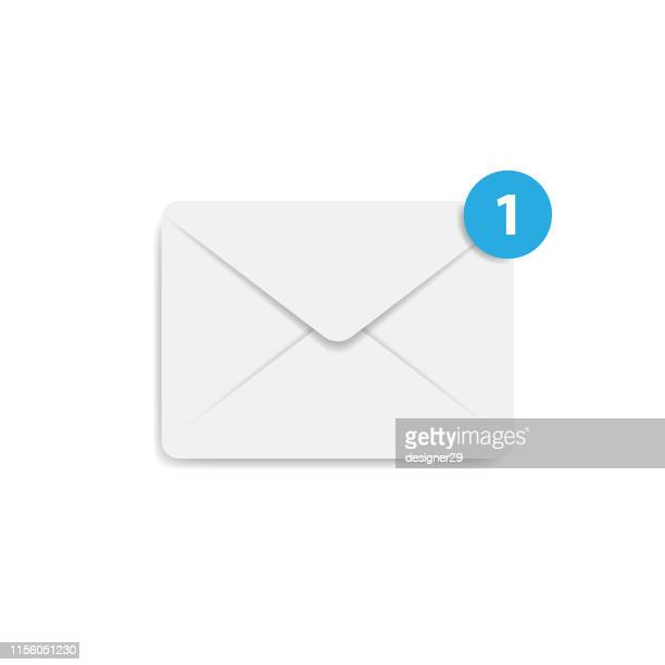 envelope letter, message notification icon and flat design. mail icon, concept of incoming email message, mail delivery service for social network, web or mobile app. - e mail inbox stock illustrations