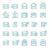 Envelope Mail icon set. Vector isolated line symbol collection in flat style
