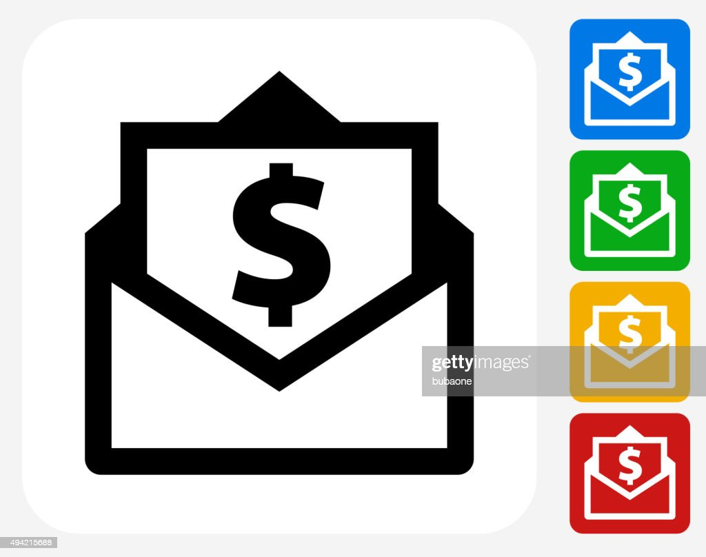 Envelope Money Icon Flat Graphic Design