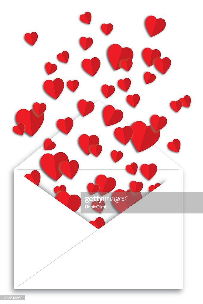 Envelope Of Folded Paper Hearts