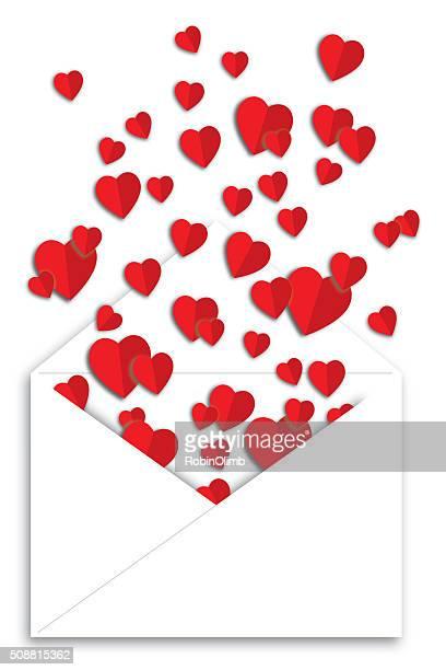 ilustraciones, imágenes clip art, dibujos animados e iconos de stock de forma de corazones de papel doblado - flotando en el aire